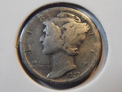 1927 S Mercury Silver Dime,  (27SM3)