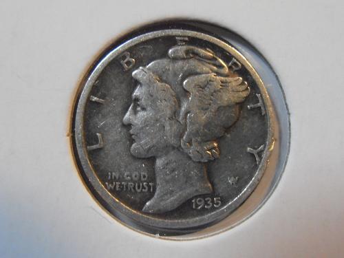 1935 D Mercury Silver Dime, Better Grade Coin (35DM5)