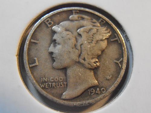 1940 S Mercury Silver Dime, Better Grade Coin (40SM1)