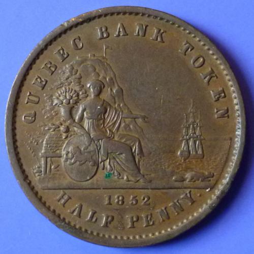 Canada Lower Quebec Bank Token 1 Sou Half Penny 1852 km Tn20