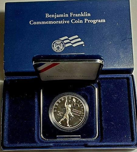2006  BENJAMIN FRANKLIN SCIENTIST  SILVER PROOF DOLLAR  COMMEMORATIVE