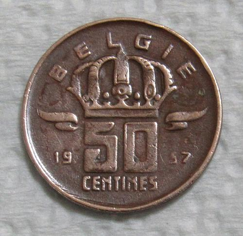 1957 Belgium 50 Centimes