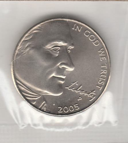 2005 p Jefferson Nickel: Ocean in View - #4