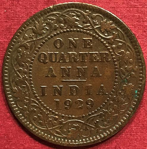 British India 1929 = 1/4 Anna = [Calcutta mint - nothing below date]