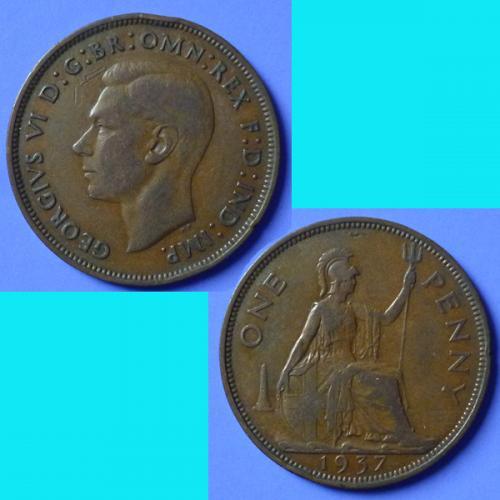 UK Great Britain 1 Penny 1937 KGVI km 845