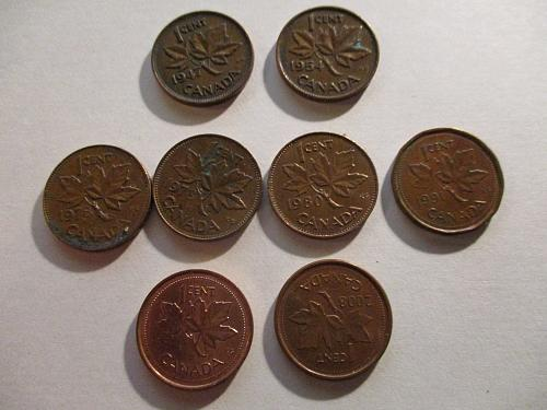 8 Penny's From Canada 1947 - 2002