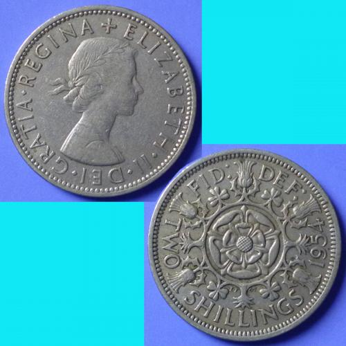 UK Great Britain 2 Shillings Florin dated 1954 km 906