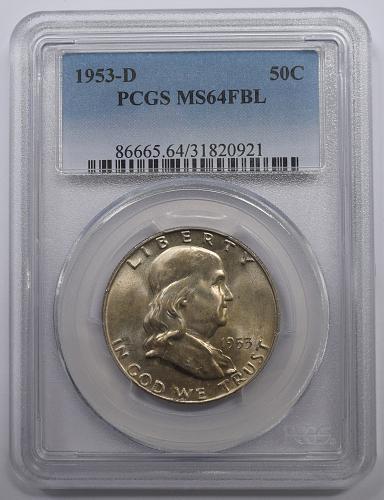 1953 D Franklin Half Dollar PCGS MS-64 FBL