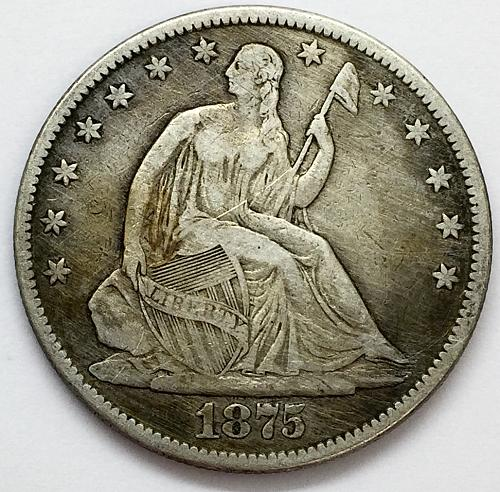 1875 Seated Liberty Half Dollar - Whizzed