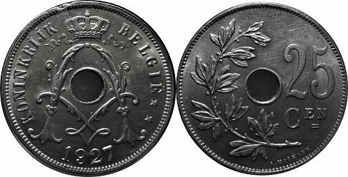 Belgium 1927 25 Centimes (Dutch Text)