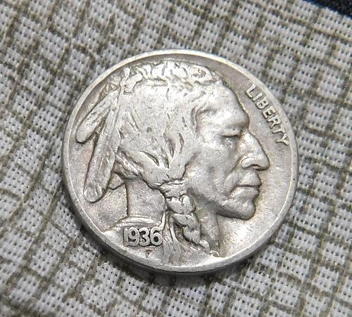 1936 S Buffalo//Indian Head Nickel