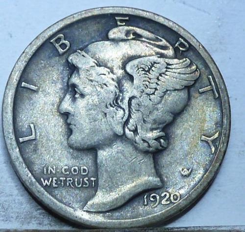 1920-D Very Fine Mercury Dime   ( A-740 )