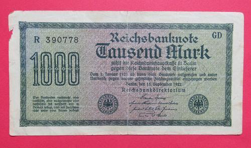 1922 German Reichsbanknote 1,000 Mark