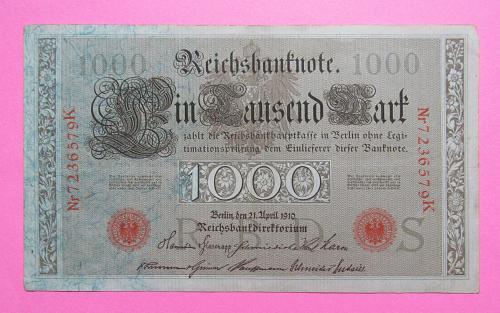 1910 German Reichsbanknote 1,000 Mark