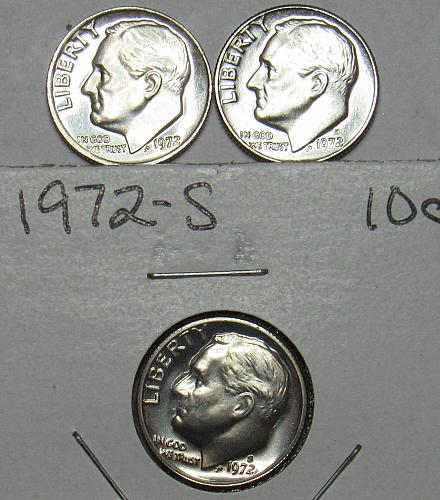 1972 P,D&S Roosevelt Dimes in BU and Proof condition