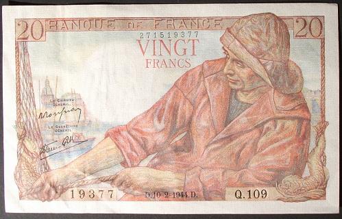 France P100a 20 Francs VF