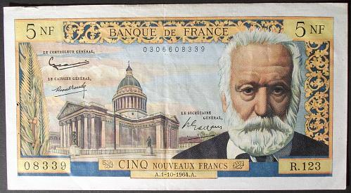 France P141a 5 Nouveaux Francs VF