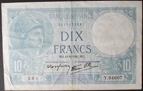 France P84 10 Francs VF