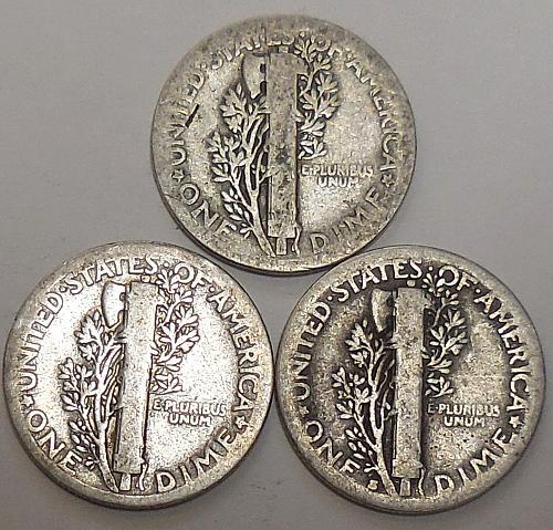 Mercury Dimes 1923-P 1928-P & 1928-S
