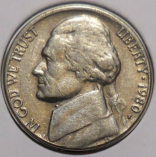 1980-P Jefferson Nickel Misaligned Die Error (M.A.D.)