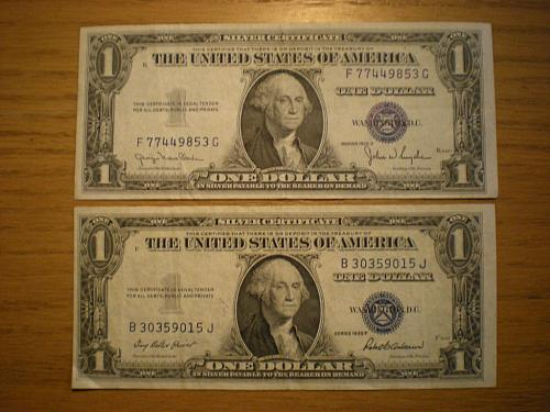 1935 D and 1935 F Series Silver $1 Certificates