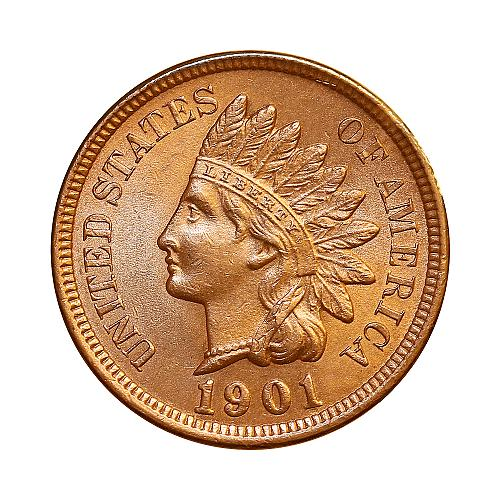 1901 Indian Head Cent - Red Gem BU / MS RD / UNC