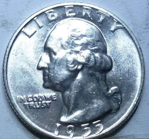 1955-D GEM BRILLIANT UNCIRCULATED Washington Quarter  BU # (1794)