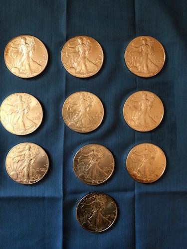 2002 Silver Eagles $1; #10 Pieces Uncirculated
