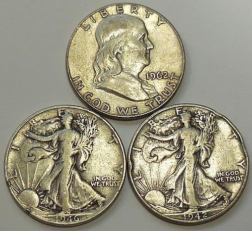 Three Old Half Dollars 90% Silver Cheap