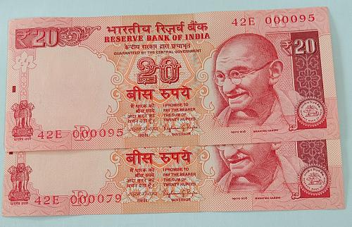 Low  No. 000095 & 000079 Uncirculated..India notes.