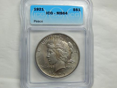 1921 Peace High Relief Silver Dollar MS64