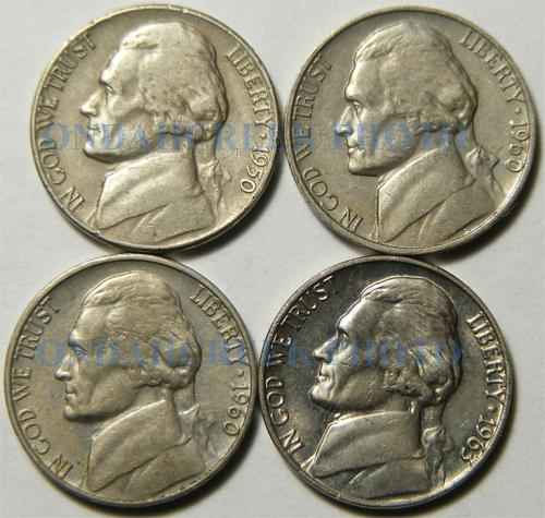 20 Different Jefferson Nickels 1940 to 1971-D