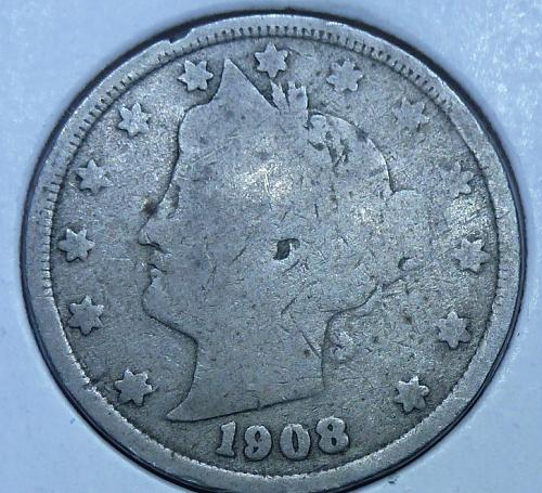 Here is a 1908 Liberty Nickel (