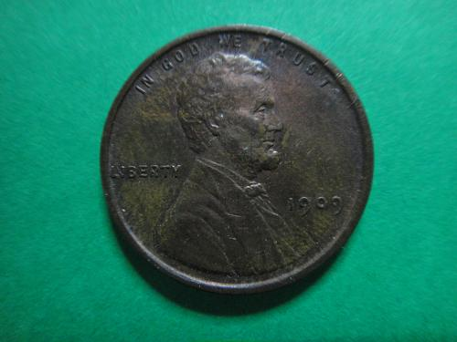 1909 Lincoln Cent Almost Uncirculated-58 Only Temple & Jaw Show Trace Wear!