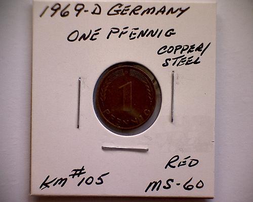 1969D GERMANY ONE PFENNIG