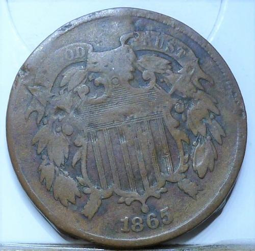 1865 Two Cent Piece in AG condition. ((642) _