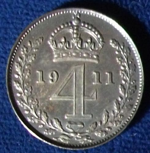 1911 Great Britain 4 Pence MS-64 Toned Maundy