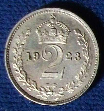 1923 Great Britain 2 Pence AU Maundy