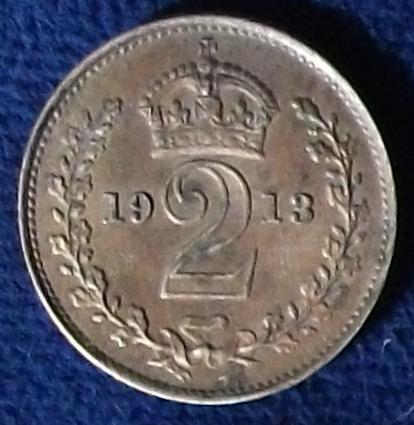 1913 Great Britain 2 Pence XF Maundy