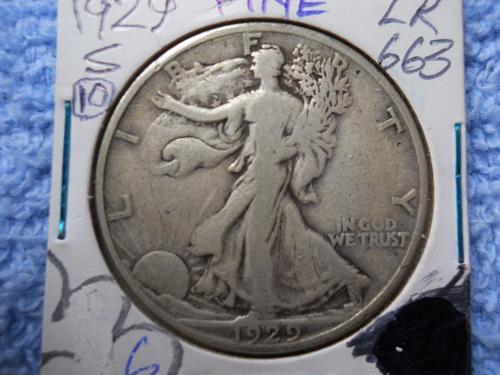 1929-S Walking Liberty Half Dollar.  Fine Grade.  Original Surfaces.  LC#10