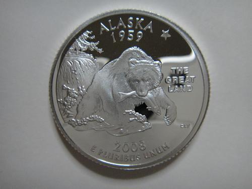 Statehood Quarter 2008-S Alaska SILVER Proof-65 (GEM)