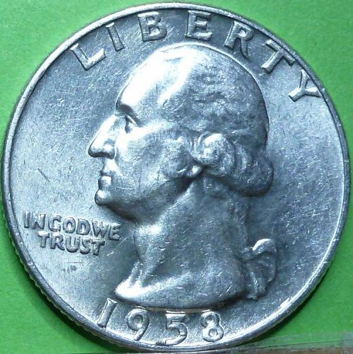 1958-D GEM BRILLIANT UNCIRCULATED Washington Quarter BU ( 568)