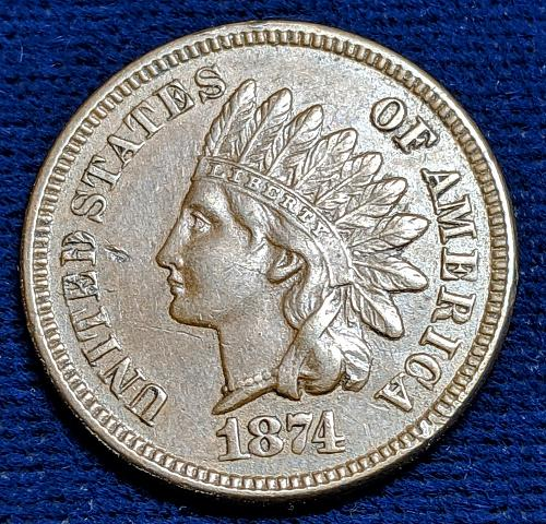 1874 XF INDIAN CENT