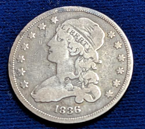 1836 FINE+ CAPPED BUST QUARTER