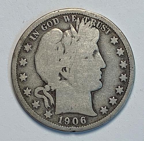 1906-D Barber Half Dollar Good+ [BH 15]