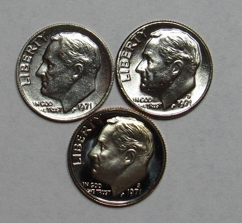 1971 P,D&S Roosevelt Dimes in BU and Proof condition