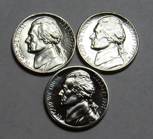 1971 P,D&S Jefferson Nickels in BU and Proof Condition