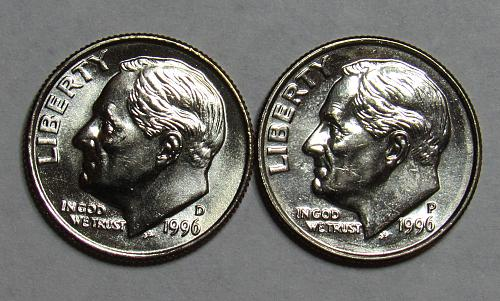 1996 P&D Roosevelt Dimes in BU condition