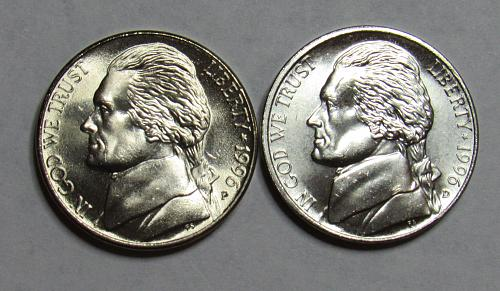 1996 P&D Jefferson Nickels in BU condition