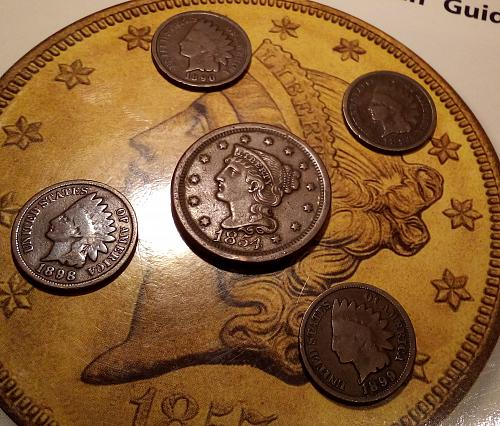 1854 U.S. XF Large Cent plus 4 Indian Head Cents. 1890,93,98,and 1899